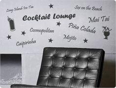 Cocktail Lounge - Wandtattoo Wandaufkleber Tea Lounge, Mojito, Caipirinha, Popular Cocktails, Alcohol, Decorating Ideas