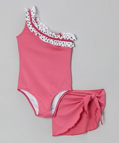 Another great find on #zulily! Pink Polka Dot Ruffle One-Piece & Sarong - Girls by Sweet Lola #zulilyfinds