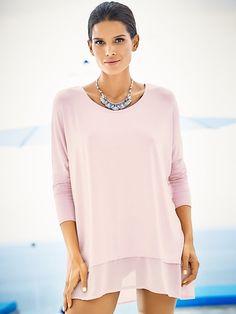 479da5744 heine CASUAL - Oversized Shirt mit Chiffon-Saum im heine Online-Shop kaufen