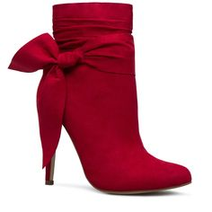 ShoeDazzle Booties Karina Bow Accent Bootie Womens Red ❤ liked on Polyvore featuring shoes, boots, ankle booties, booties, red, ruched boots, bootie boots, red short boots, scrunch ankle boots and ankle bootie boots