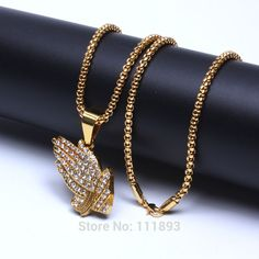 Plating Gold Praying Hands Mini pendants bling jewelry Hip Hop chain necklace for men women