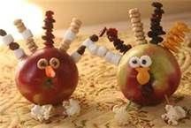 turkey craft - apple, skewers, marshmallows, popcorn, fruity cheerios, raisins, goldfish, candy corn