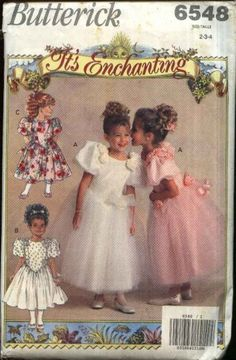 Butterick Sewing Pattern 6548 Girls Size 2-3-4 Frilly Flowers Formal Party Dress   Butterick+Sewing+Pattern+6548+Girls+Size+2-3-4+Frilly+Flowers+Formal+Party+Dress