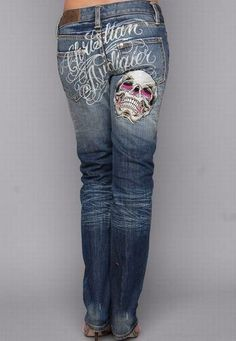 a7c7e4b8087 Christian Audigier Womens Skull Denim Straight Leg in Blue