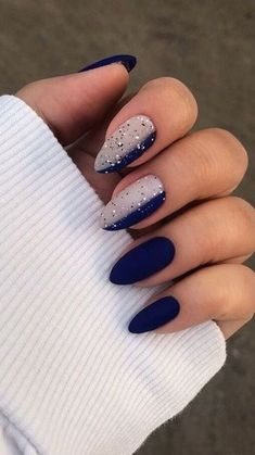 168 classical ideas for french nails – page 4 Edgy Nails, Chic Nails, Grunge Nails, Oval Nails, Stylish Nails, Blue Nails, Matte Pink Nails, Blue And White Nails, Halloween Acrylic Nails