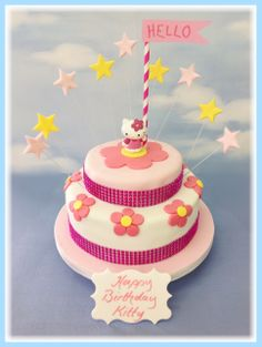 A Very Pretty Two Tier Party Cake With Keepsake Toy Kitty The Comes In
