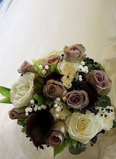 The Flower Magician: Wedding Bouquet in Shades of Sage Green, Mushroom & Aubergine