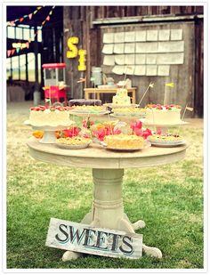colorful country fair wedding sweets table