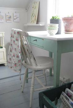 I'm in love with this desk color - future kitchen wall color