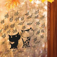 Kittens en Herfst blaadjes raamtekening