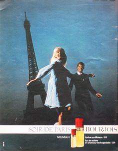 Soir de Paris 1967 Perfume Ad, Cosmetics & Perfume, Retro Ads, Vintage Ads, Bourjois, Paris, Smell Good, Vintage Beauty, Fragrance