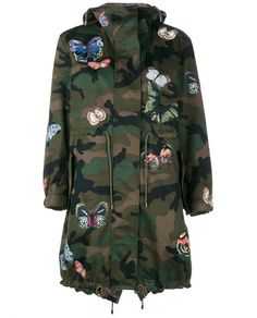 VALENTINO Butterfly Embroidered Camouflage Parka Jacket