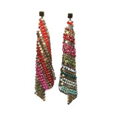 Kite multicolor earrings in mesh material and multicolor Swarovski crystals. Handcrafted in Barcelona.