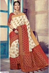 6048b401c0d White Silk Weaved Stylish Festive Wear Saree With Blouse Piece Catalog No    8224  Saree