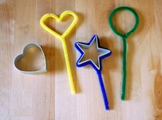 Make bubble wands (and homemade bubble solution) out of pipe cleaners shaped around cookie cutters