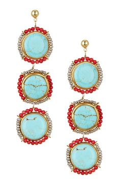 turquoise jewelry, red accent, earrings, summer, three's a charm