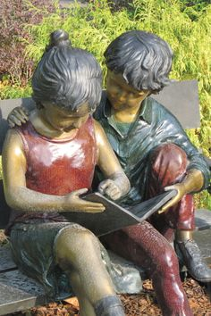 Sculpture at the Madison branch of the Huntsville-Madison County Public Library, in Madison, Alabama. We have a bench outside my branch library of a boy and girl reading a book but it is in bronze. Sculpture Art, Public Art, Painting, Statue, Book Art Sculptures, Sculpture, Art, Pictures, Street Art