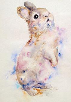 Bunny niedliche Kaninchen Original Aquarell Wandkunst von artiart
