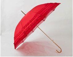 Lace Long Handle Wedding Red Bride Umbrella Gilded   eBay