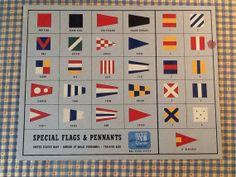Vintage 1940's US Naval Flag Training Poster, Original Lithograph