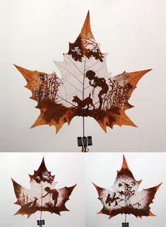 Leaf Carving Art #amazing #autums #leaf