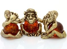Baltic Amber 3 Wise Monkeys Brass Figurine See Speak Hear No Evil Feng Shui