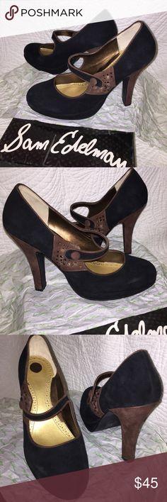 Sam Adelman Black Suede Mary Jane Pumps Sam Adelman Black Suede Mary Jane Pumps.  Black Suede with Brown Trim, Button and Rhinestone Embellishments.  Size 9 B.  4 Inch Heel.  New in Box--never worn. Sam Edelman Shoes Heels