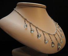Edwardian Era Aquamarine, Diamond & Platinum Necklace found on Ruby Lane