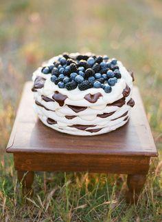 Delectable alternative to traditional wedding cake, layered Pavlova