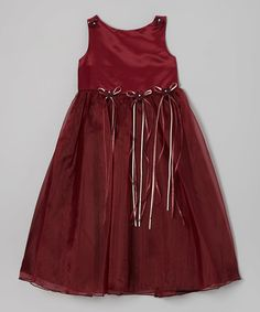 This Kid's Dream Burgundy Satin Organza Dress - Infant, Toddler & Girls by Kid's Dream is perfect! Toddler Girl Dresses, Toddler Girls, Baby Couture, Organza Dress, Cute Girl Outfits, Kind Mode, Boy Fashion, Frocks, Tie Dye Skirt