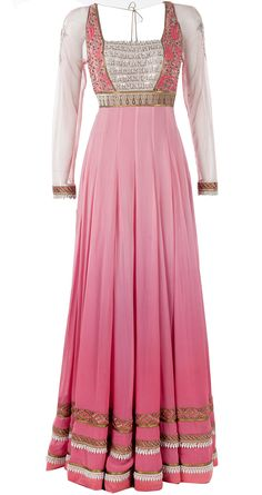 Pink ombre embroidered anarkali set available only at Pernia's Pop-Up Shop.