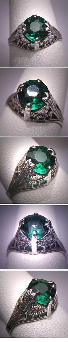 Antique Art Deco Green Garnet Wedding Ring Vintage Band. $395.00, via Etsy.