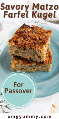 Savory matzo farfel kugel will be your new favorite Passover side dish. Perfect for your seder meal or any dinner during the holiday, this kugel has a light pudding-like interior with a crispy top. Also perfect to make ahead and reheat. Easy to make with the ingredients you have on hand. #Passover #seder #matzo #matzofarfel #kugel Passover Recipes, Jewish Recipes, Seder Meal, Matzo Meal, Side Dishes, Dessert Recipes, Pudding, Meals, Snacks