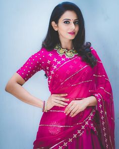 Hot and sexy tollywood and Bollywood movies actress rakul preet singh bride look very cute beautiful photos and hd wallpapers with navel bo. Blouse Back Neck Designs, Blouse Designs, Blouse Patterns, Beautiful Bollywood Actress, Most Beautiful Indian Actress, Indian Beauty Saree, Indian Sarees, Saree Dress, Sari