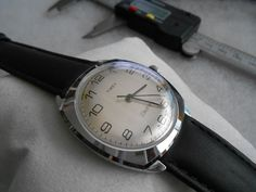 Vintage 1980 Timex England Chromed Electric Men's Watch w/ 20mm Leather Band! #Timex #DressFormal