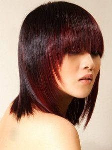 Two-Tone Hair Style- Black with Dark Red Framing