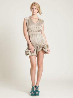 Geren Ford Linen Poof Dress in Khaki