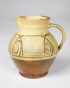 Michael Cardew, Yellow and brown sli. - CSC - VADS: the online resource for visual arts Ceramic Pitcher, Ceramic Jugs, Ceramic Design, Ceramic Art, Simple Minds, St Ives, Pottery Studio, Yellow And Brown, Visual Arts