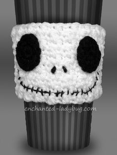 Free Crochet Jack Skellington Coffee Cup Cozy Pattern from The Enchanted Ladybug