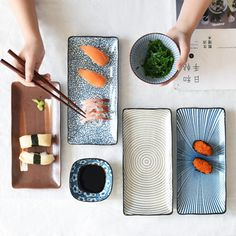 Jazz up your sushi dinner with this collection porcelain plates. Shaped rectangular, it is designed to compliment your food! Product Info: Material: Porcelain Safe for microwave, dishwasher Size: width x length Johor Bahru, Resin And Wood Diy, Sushi Platter, Sushi Night, Sushi Set, Clay Mugs, Scandinavian Style, Ceramic Tableware, Gastronomia