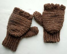Crocheted Convertible Fingerless Gloves/Mittens
