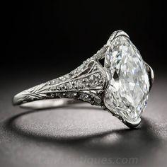 Tiffany & Co. Edwardian 3.14 Carat Marquise Diamond Platinum Ring image 3