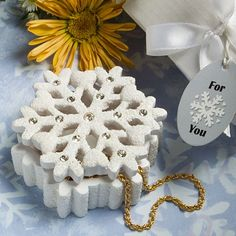 Winter Wonderland Snowflake Design Box - Other Practical Wedding Favor - Wedding Favors - Wedding Favors & Party Supplies - Favors and Flowers Winter Wedding Favors, Christmas Party Favors, Candle Wedding Favors, Winter Wedding Decorations, Beach Wedding Favors, Bridal Shower Favors, Wedding Ideas, Winter Weddings, Wedding Centerpieces