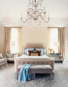 I see how blue would come in... I love this Debbie... Maybe drapes on the side each side of the bed and have frames for windows since my windows are adjacent walls. The chair is nice too... But what would we do with my carpet... it is neutral?... more ideas to pull from