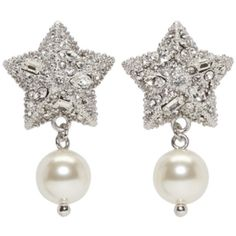 Miu Miu Silver Pearl and Crystal Star Earrings (1 230 PLN) ❤ liked on Polyvore featuring jewelry, earrings, silver, swarovski crystal jewelry, ivory pearl earrings, stud earrings, earring jewelry and crystal stud earrings