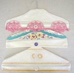 Fun vintage hanger covers. If you made them large enough they could be used to cover the top of clothes already on the hanger as dust covers.