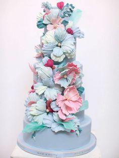 Blue and pink wedding cake   Canada's Prettiest Wedding Cakes For 2015 via @weddingbellsmag