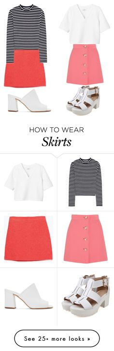 """""""Pink Skirts & White Sandals"""" by kimberlylindsey on Polyvore featuring Maryam Nassir Zadeh, Zara, T By Alexander Wang, Miu Miu and Monki"""