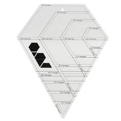 Cut 4 shapes in 4 sizes with this one ruler: hexagons, 60 degree triangles, half hexagons and jewels. The design possibilities are endless. The lines around the edge showing the seam allowance makes i