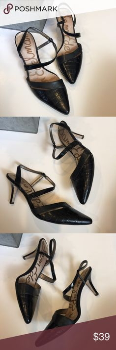 Sam Edelman pointed toe heels 😍 Sam edelman size 8.5 pointed toe heels with small kitten stiletto heel. Overall good condition with wear on very bottom of soles. Black. Slingback strappy Sam Edelman Shoes Heels